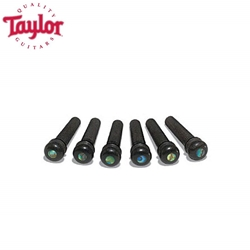 Taylor - JB-80110 Ebony with Abalone Dot Bridge Pins, 6 Pack